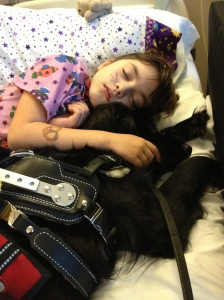 Haley and her service dog napping off a seizure during a hospitalization.